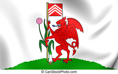 Flag of Cardiff City, Wales.