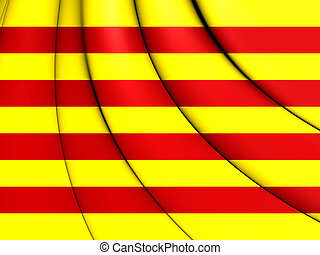 3D Flag of Catalonia. 3D Illustration.