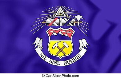 3D Flag of Colorado (1907-1911), USA. 3D Illustration.