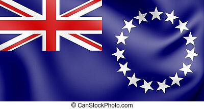 3D Flag of Cook Islands. 3D Illustration.