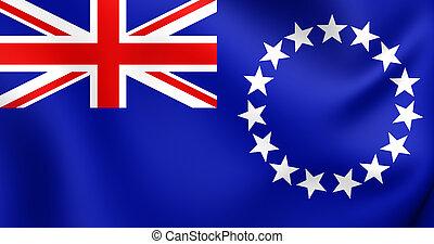 3D Flag of Cook Islands. Close Up.