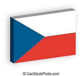 3D flag of Czech Republic. Vector illustration with dropped shadow isolated on white background