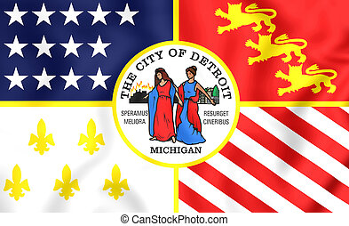 Flag of Detroit (Michigan), USA. - 3D Flag of Detroit (...