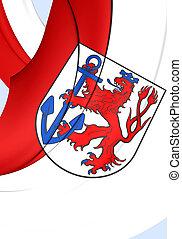 Flag of Dusseldorf City, Germany.