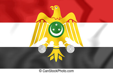 3D Flag of Egypt (1952-1958). 3D Illustration.