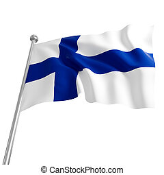 flag of finland - 3d flag of finland on white background