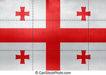 3D Flag of Georgia on metal