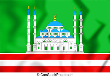 3D Flag of Grozny (Chechen Republic), Russia. 3D...