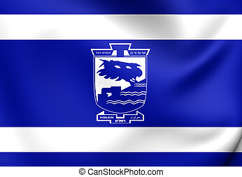 Flag of Holon City, Israel.