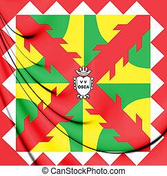 3D Flag of Huesca City, Spain. 3D Illustration.