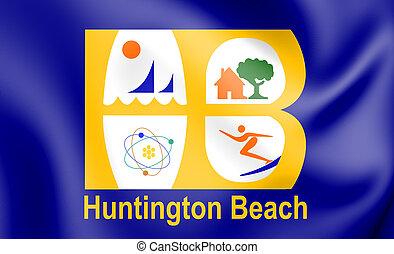 3D Flag of Huntington Beach (California), USA.