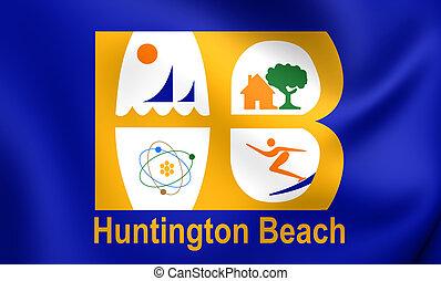 Flag of Huntington Beach City, California, USA. - 3D Flag of...