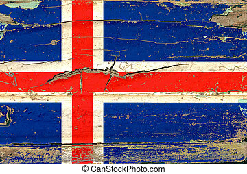 3D Flag of Iceland on wood