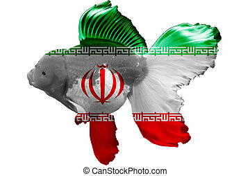 3D Flag of Iran on goldfish