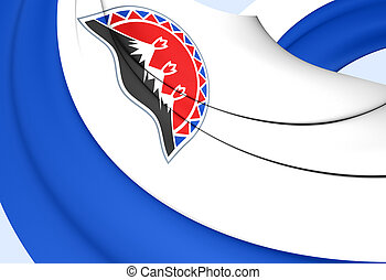 3D Flag of Kamchatka Krai, Russia. 3D Illustration.