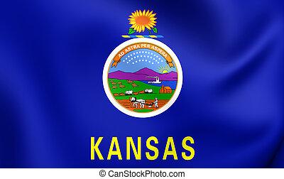 Flag of Kansas, USA. - 3D Flag of Kansas, USA. Close Up.