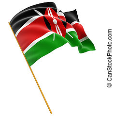 3D flag of Kenya with fabric surface texture. White...