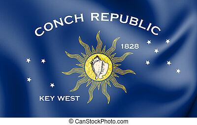 3D Flag of Key West (Florida), USA. 3D Illustration.