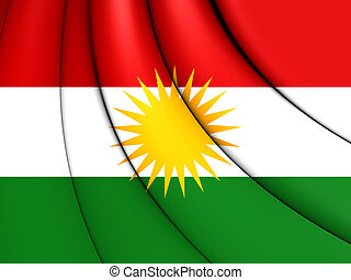 3D Flag of Kurdistan. 3D Illustration.