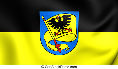 3D Flag of Ludwigsburg City (Baden-Wurttemberg), Germany. Close Up.