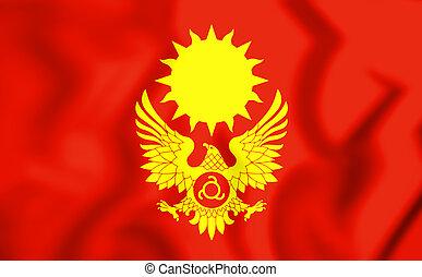 3D Flag of Magas (Ingushetia), Russia. 3D Illustration.