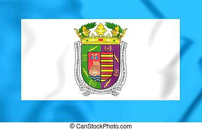 3D Flag of Malaga Province, Spain. Close Up.