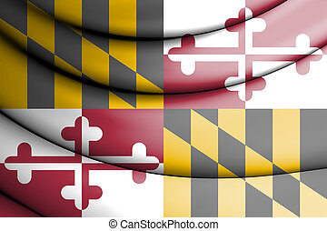 3D Flag of Maryland state, USA.
