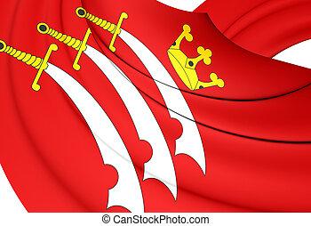 3D Flag of Middlesex, England. 3D Illustration.