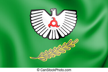 3D Flag of Nazran (Ingushetia), Russia. 3D Illustration.