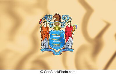 3D Flag of New Jersey state, USA. 3D Illustration.