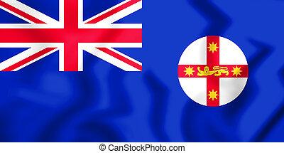 3D Flag of New South Wales, Australia. 3D Illustration.