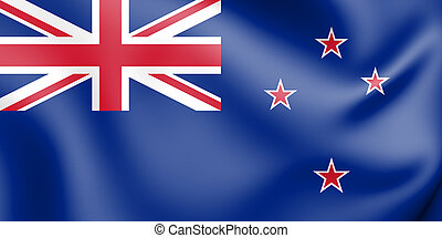 Flag Of New Zealand 3d Wallpaper Illustration National Symbol Low
