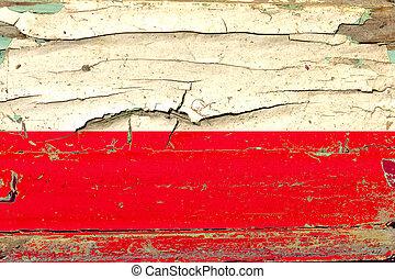 3D Flag of Poland on wood