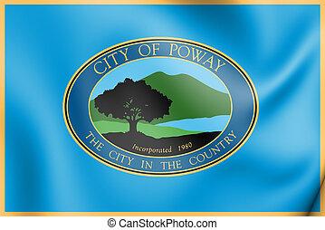 3D Flag of Poway (California), USA.