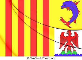 3D Flag of Provence-Alpes-Cote d'Azur, France. Close Up.