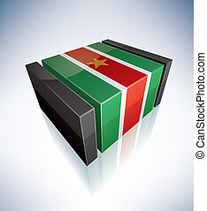3D flag of Republic of Suriname