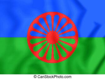 Flag of Romani People - 3D Flag of Romani People. Close Up.