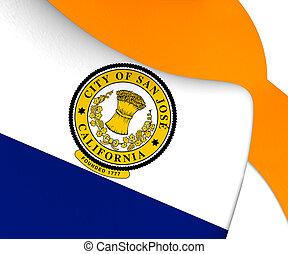3D Flag of San Jose (California), USA.