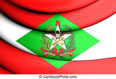 3D Flag of Santa Catarina, Brazil. Close Up.