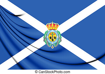 Flag of Santa Cruz de Tenerife Province, Spain. - 3D Flag of...