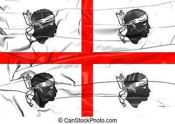 3D Flag of Sardinia, Italy. 3D Illustration.