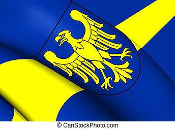 3D Flag of Silesian Voivodeship, Poland. Close Up.
