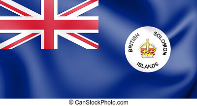 3D Flag of Solomon Islands (1906-1947). 3D Illustration.