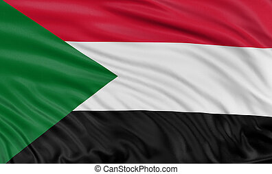 3D flag of Sudan with fabric surface texture. White...