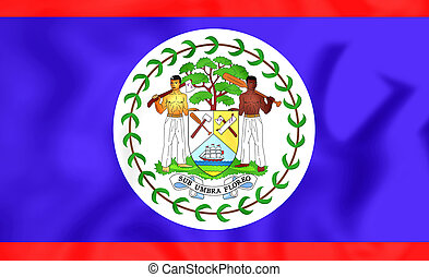 3D Flag of the Belize. 3D Illustration.