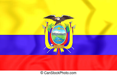 3D Flag of the Ecuador. 3D Illustration.