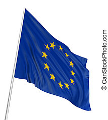 3D flag of the European union with fabric surface texture. White background.