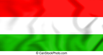 3D Flag of the Hungary. 3D Illustration.