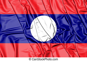 3D Flag of the Laos. 3D Illustration.