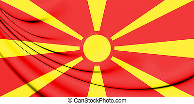 3D Flag of the Macedonia. 3D Illustration.